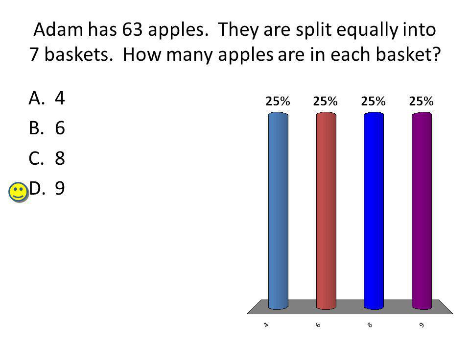 Adam has 63 apples. They are split equally into 7 baskets.