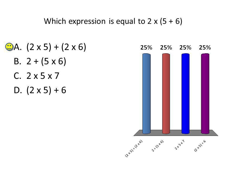 Which expression is equal to 2 x (5 + 6) A.(2 x 5) + (2 x 6) B.2 + (5 x 6) C.2 x 5 x 7 D.(2 x 5) + 6
