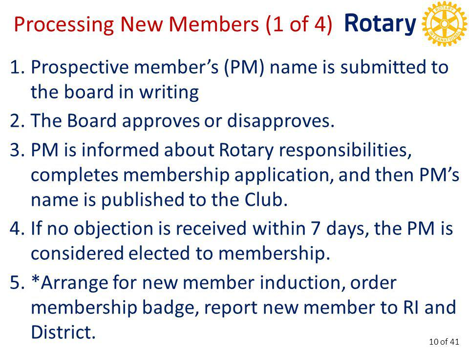 Processing New Members (1 of 4) 1.Prospective member's (PM) name is submitted to the board in writing 2.The Board approves or disapproves. 3.PM is inf