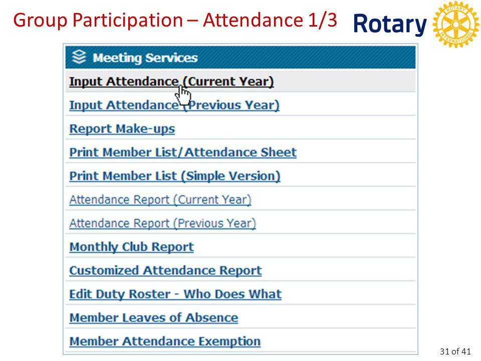 Group Participation – Attendance 1/3 31 of 41