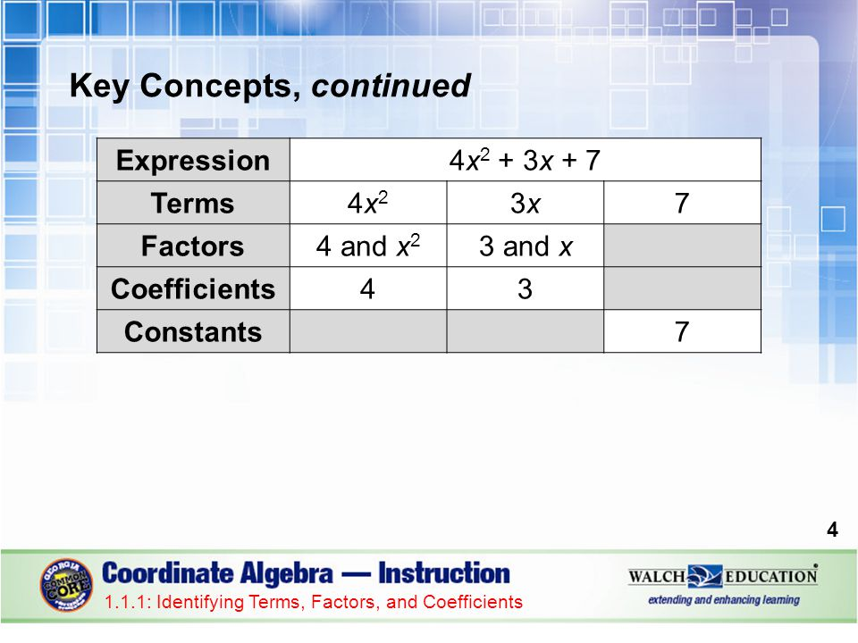 Key Concepts, continued Terms with the same variable raised to the same exponent are called like terms.