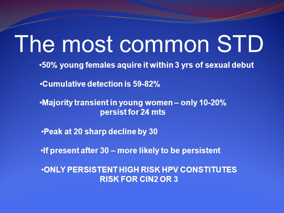 The most common STD 50% young females aquire it within 3 yrs of sexual debut Cumulative detection is 59-82% Majority transient in young women – only 10-20% persist for 24 mts Peak at 20 sharp decline by 30 If present after 30 – more likely to be persistent ONLY PERSISTENT HIGH RISK HPV CONSTITUTES RISK FOR CIN2 OR 3
