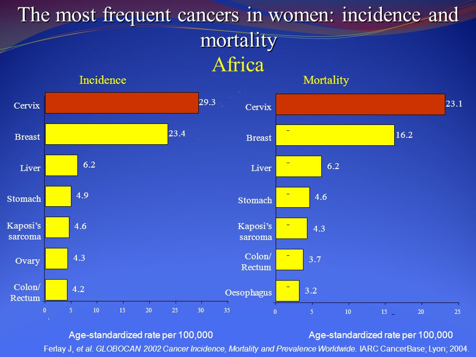 The most frequent cancers in women: incidence and mortality Africa IncidenceMortality Cervix Breast Liver Stomach Kaposi's sarcoma Ovary Colon/ Rectum 05101520253035 29.3 23.4 6.2 4.9 4.6 4.3 4.2 Cervix Breast Liver Stomach Kaposi's sarcoma Colon/ Rectum Oesophagus 0510152025 23.1 16.2 6.2 4.6 4.3 3.7 3.2 Ferlay J, et al.