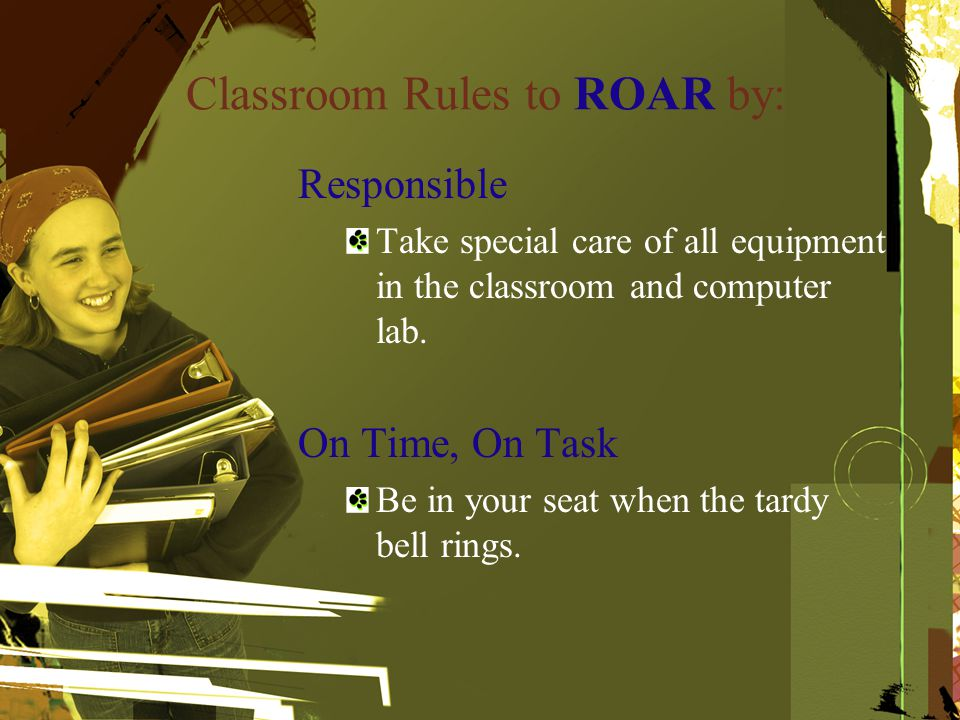 Classroom Rules to ROAR by: Responsible Take special care of all equipment in the classroom and computer lab.