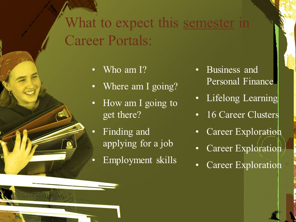 What to expect this semester in Career Portals: Who am I.