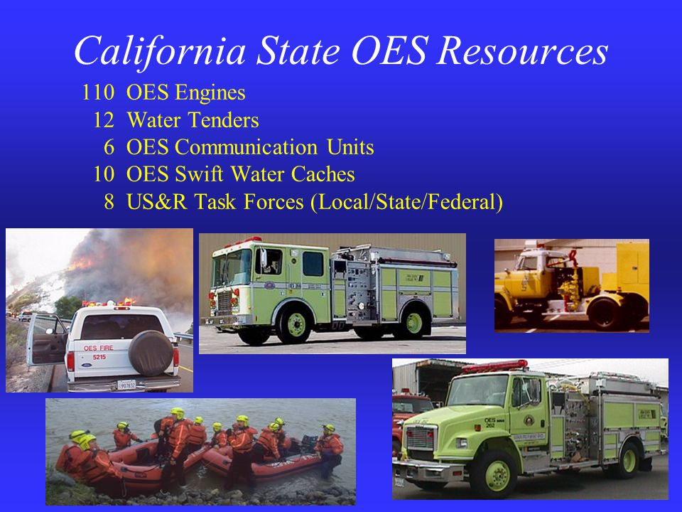 California State OES Resources 110 OES Engines 12 Water Tenders 6 OES Communication Units 10 OES Swift Water Caches 8 US&R Task Forces (Local/State/Federal)