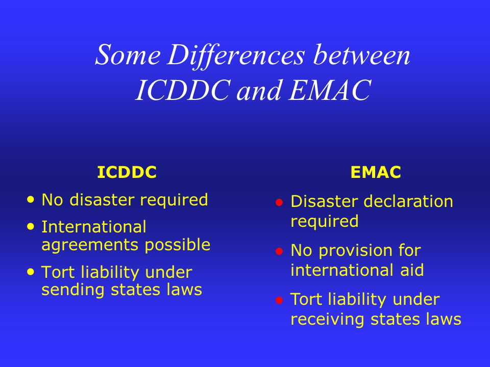 ICDDC No disaster required International agreements possible Tort liability under sending states laws EMAC Disaster declaration required No provision for international aid Tort liability under receiving states laws Some Differences between ICDDC and EMAC