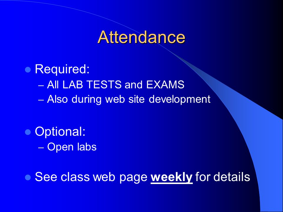 Expectations Check class web page weekly prior to class – http://www.staff.fcps.net/nbeaujon http://www.staff.fcps.net/nbeaujon – Scoring rubrics – Text assignments – Practice sheets for Lab Tests – Class announcements / news Closings due to weather or FCPS schedule