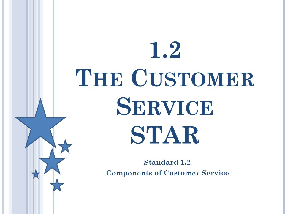 1.2 T HE C USTOMER S ERVICE STAR Standard 1.2 Components of Customer Service