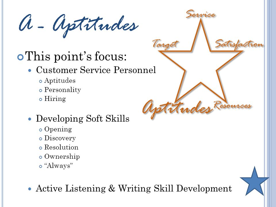 A - Aptitudes This point's focus: Customer Service Personnel Aptitudes Personality Hiring Developing Soft Skills Opening Discovery Resolution Ownership Always Active Listening & Writing Skill Development