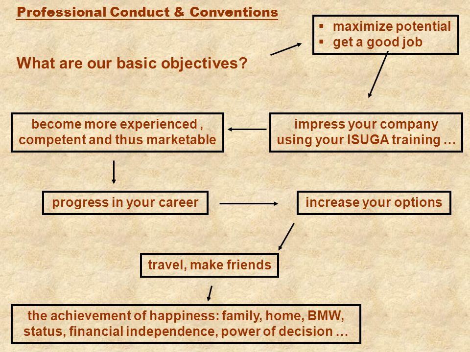 Professional Conduct & Conventions What are our basic objectives.