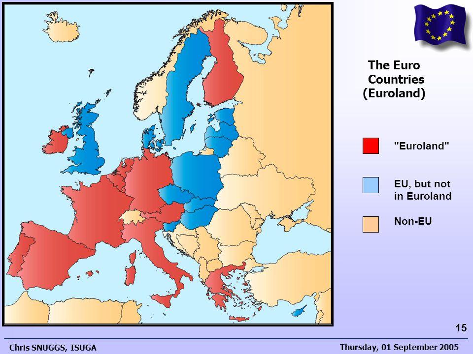 Thursday, 01 September 2005 Chris SNUGGS, ISUGA 15 The Development of the European Union The Euro Countries (Euroland)
