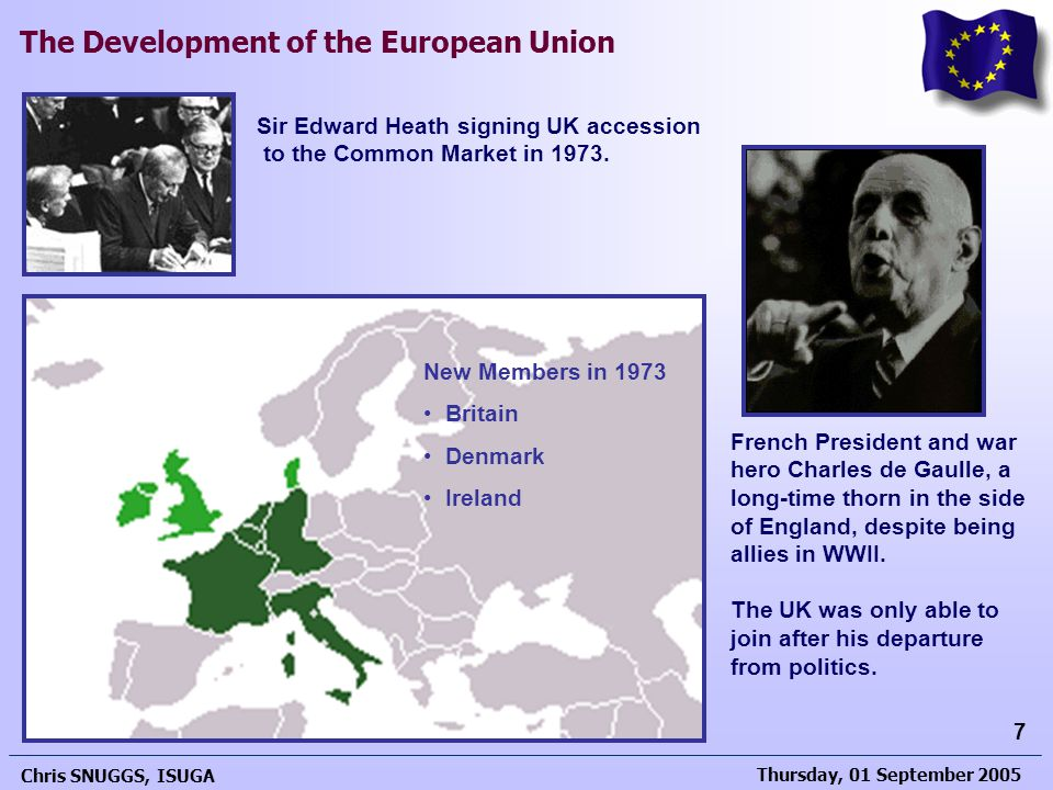 Thursday, 01 September 2005 Chris SNUGGS, ISUGA 7 The Development of the European Union Sir Edward Heath signing UK accession to the Common Market in