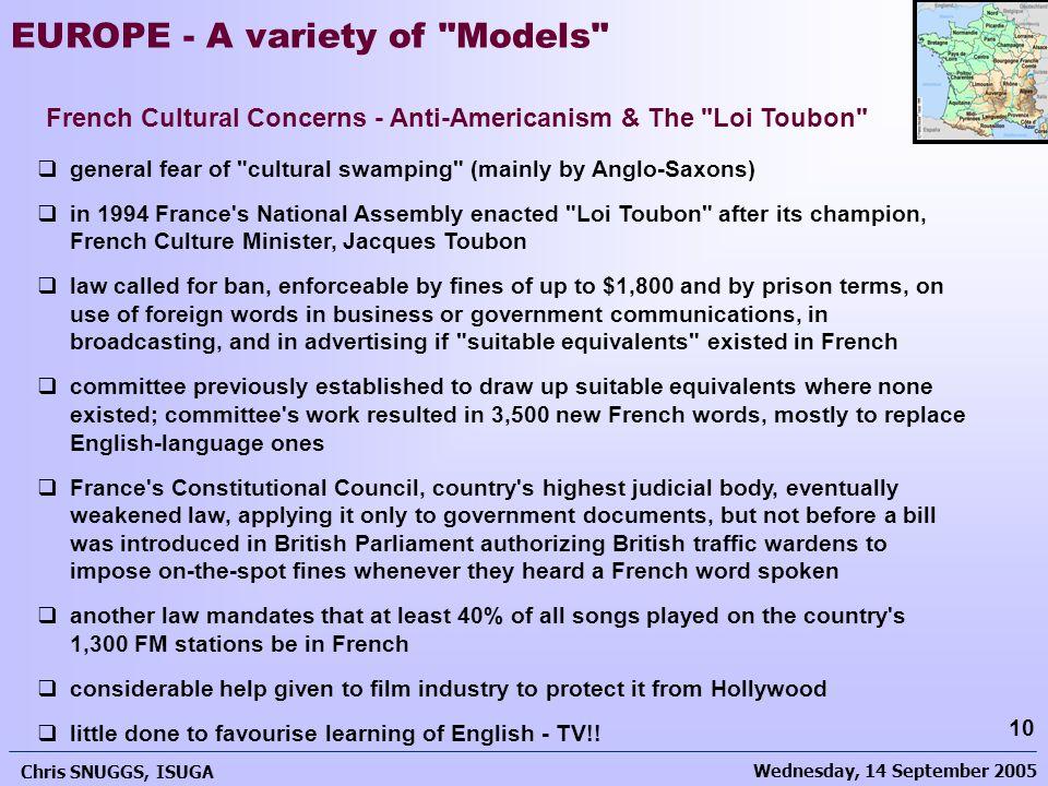 Wednesday, 14 September 2005 Chris SNUGGS, ISUGA 10 EUROPE - A variety of