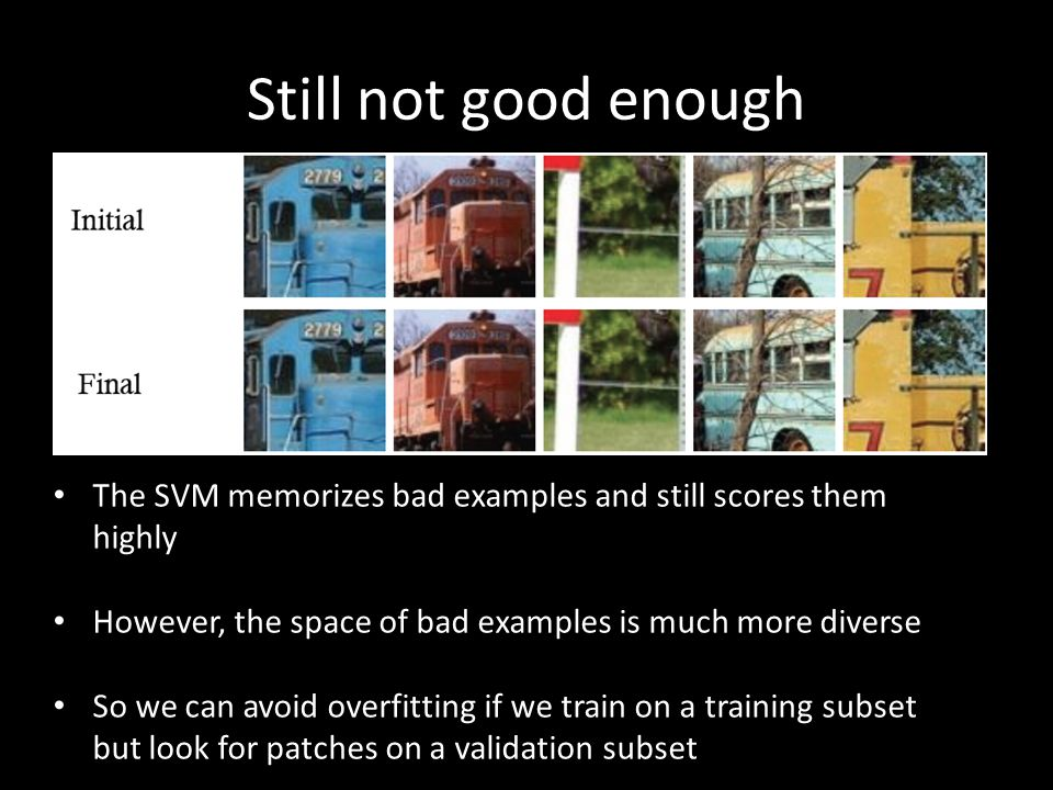 Still not good enough The SVM memorizes bad examples and still scores them highly However, the space of bad examples is much more diverse So we can av