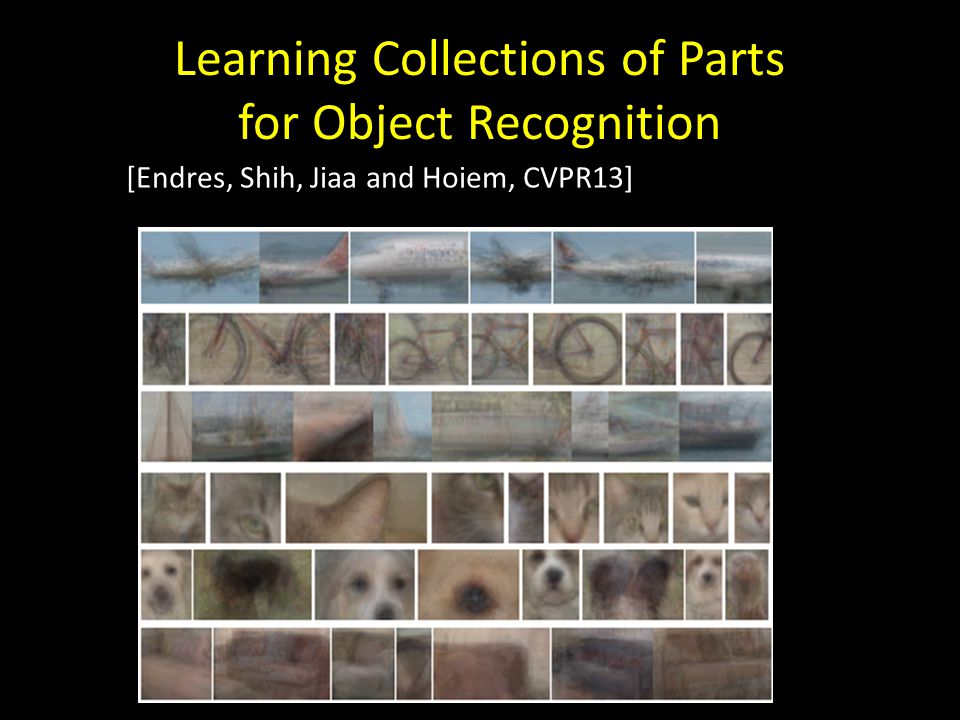 Learning Collections of Parts for Object Recognition [Endres, Shih, Jiaa and Hoiem, CVPR13]