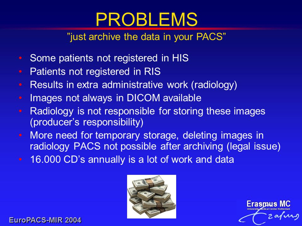 Some patients not registered in HIS Patients not registered in RIS Results in extra administrative work (radiology) Images not always in DICOM available Radiology is not responsible for storing these images (producer's responsibility) More need for temporary storage, deleting images in radiology PACS not possible after archiving (legal issue) 16.000 CD's annually is a lot of work and data PROBLEMS just archive the data in your PACS EuroPACS-MIR 2004