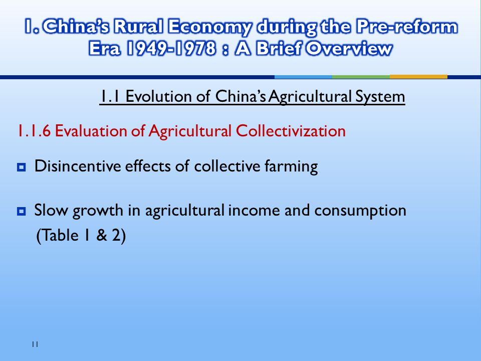 11 1.1 Evolution of China's Agricultural System 1.1.6 Evaluation of Agricultural Collectivization  Disincentive effects of collective farming  Slow growth in agricultural income and consumption (Table 1 & 2)