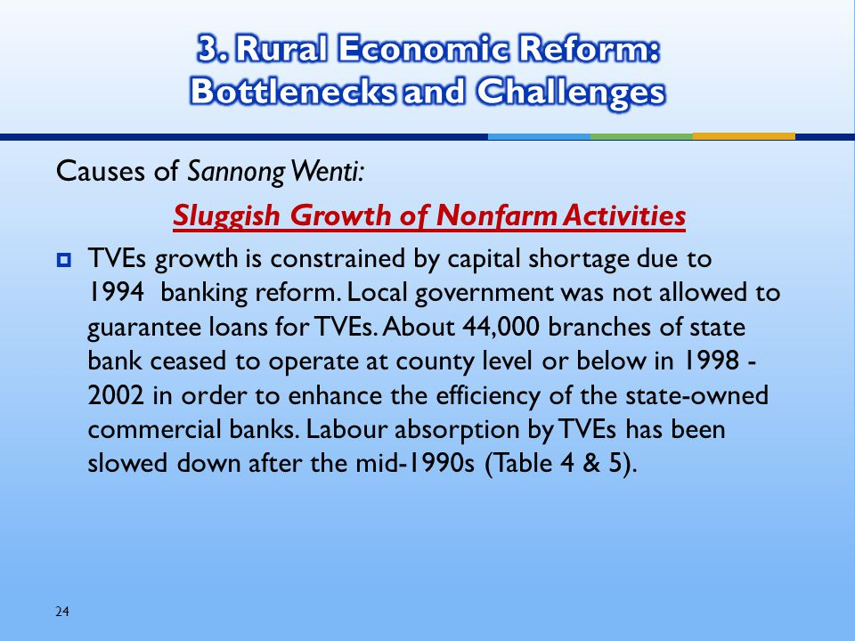 24 Causes of Sannong Wenti: Sluggish Growth of Nonfarm Activities  TVEs growth is constrained by capital shortage due to 1994 banking reform.