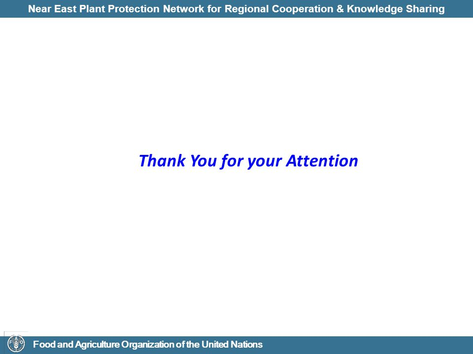 Near East Plant Protection Network for Regional Cooperation & Knowledge Sharing Food and Agriculture Organization of the United Nations Thank You for your Attention
