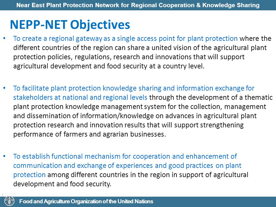 Near East Plant Protection Network for Regional Cooperation & Knowledge Sharing Food and Agriculture Organization of the United Nations NEPP-NET Objectives To create a regional gateway as a single access point for plant protection where the different countries of the region can share a united vision of the agricultural plant protection policies, regulations, research and innovations that will support agricultural development and food security at a country level.