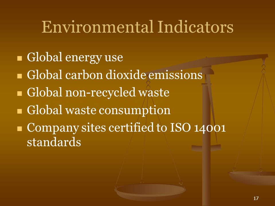 17 Environmental Indicators Global energy use Global carbon dioxide emissions Global non-recycled waste Global waste consumption Company sites certified to ISO 14001 standards