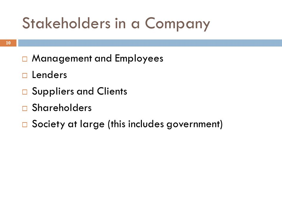 Stakeholders in a Company 10  Management and Employees  Lenders  Suppliers and Clients  Shareholders  Society at large (this includes government)