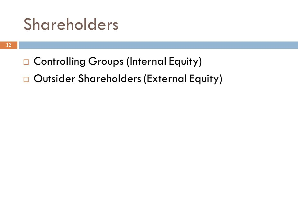 Shareholders 12  Controlling Groups (Internal Equity)  Outsider Shareholders (External Equity)