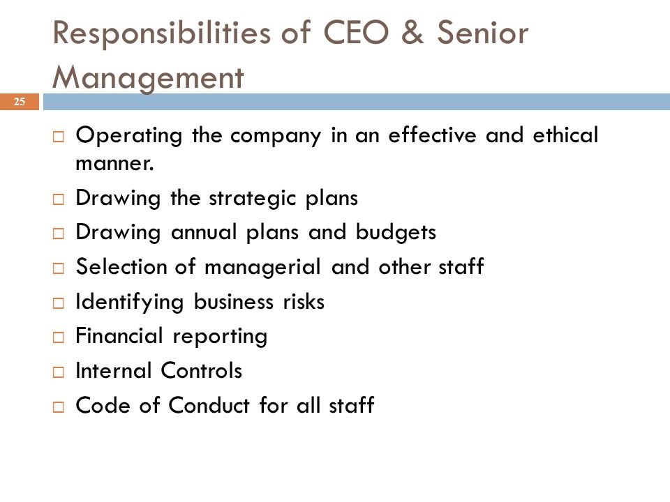 Responsibilities of CEO & Senior Management 25  Operating the company in an effective and ethical manner.  Drawing the strategic plans  Drawing ann