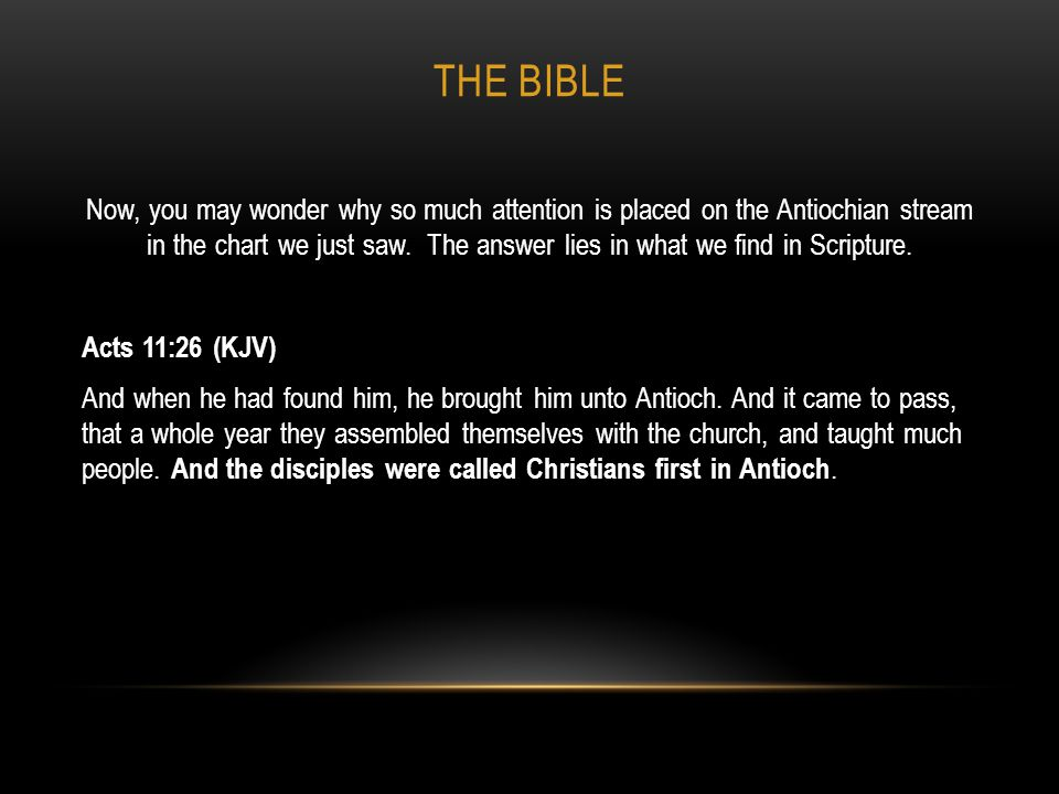 THE BIBLE Notice Rome is not mentioned as the place where the disciples were first called Christians.