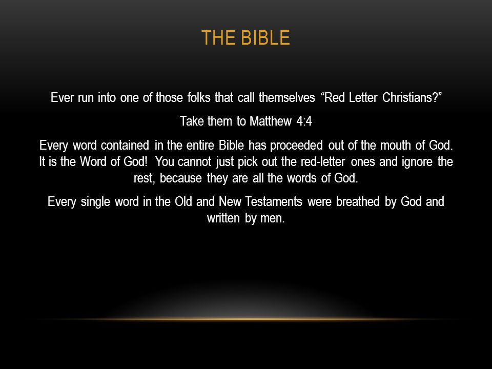 THE BIBLE 2 Peter 1:20–21 (KJV) Knowing this first, that no prophecy of the scripture is of any private interpretation.