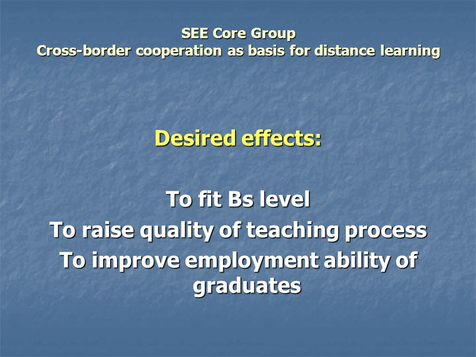 SEE Core Group Cross-border cooperation as basis for distance learning Desired effects: To fit Bs level To raise quality of teaching process To improve employment ability of graduates