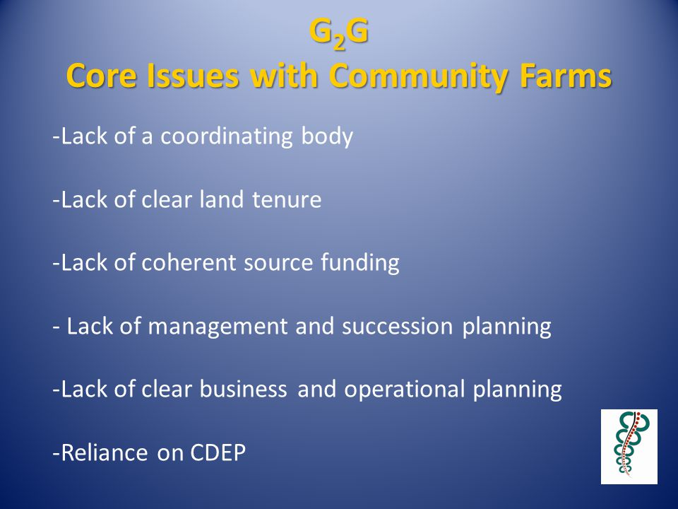 G 2 G Core Issues with Community Farms -Lack of a coordinating body -Lack of clear land tenure -Lack of coherent source funding - Lack of management a