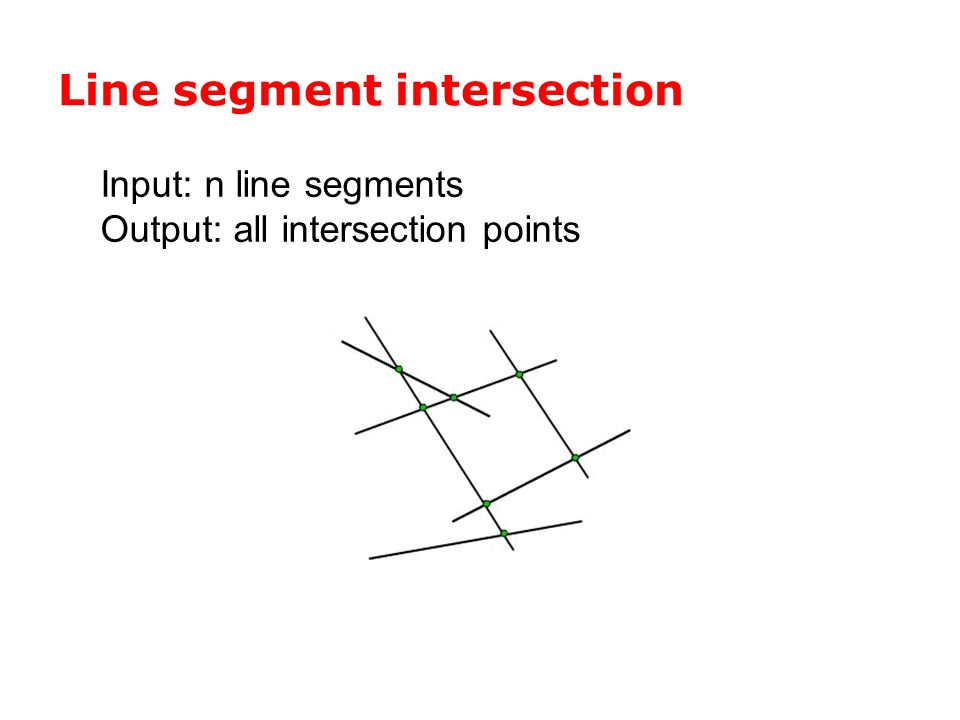 Line segment intersection Input: n line segments Output: all intersection points