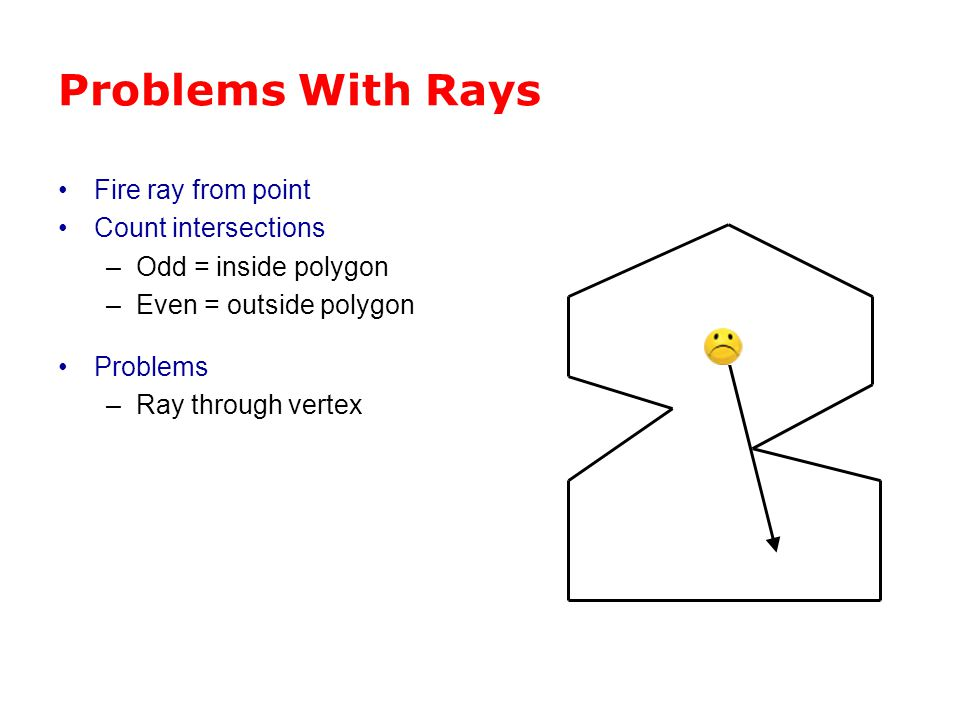 Problems With Rays Fire ray from point Count intersections –Odd = inside polygon –Even = outside polygon Problems –Ray through vertex