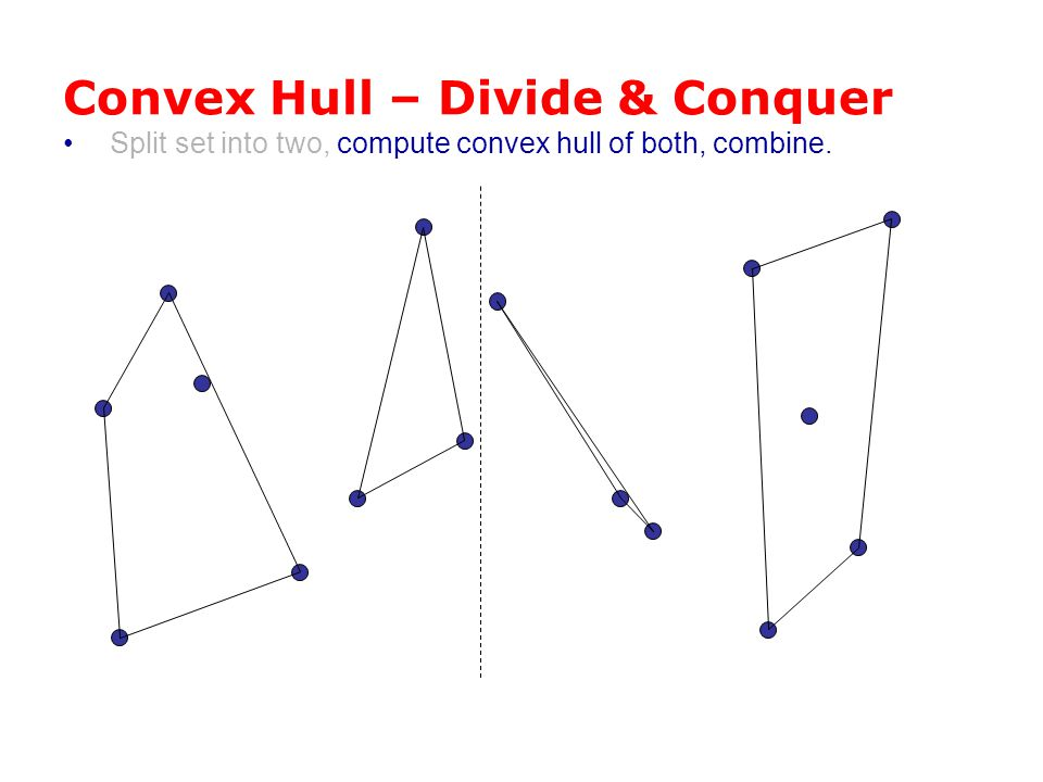 Convex Hull – Divide & Conquer Split set into two, compute convex hull of both, combine.
