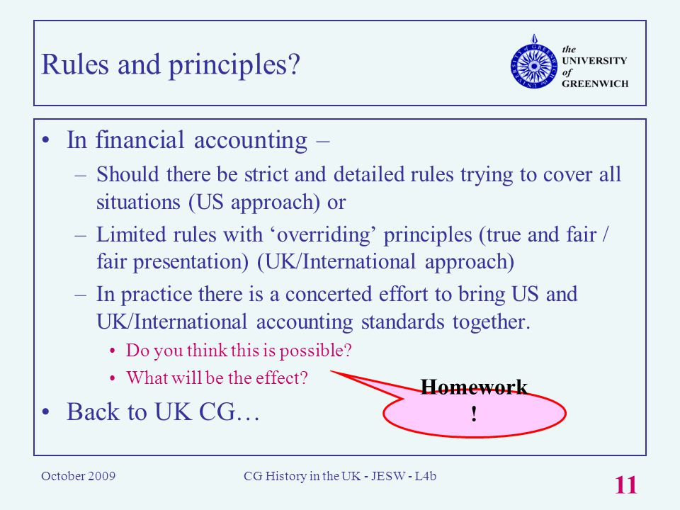 October 2009CG History in the UK - JESW - L4b 11 Rules and principles.