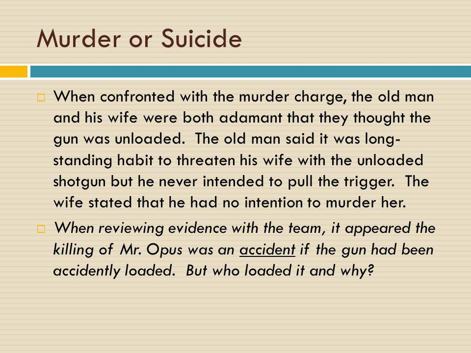 Murder or Suicide  When confronted with the murder charge, the old man and his wife were both adamant that they thought the gun was unloaded. The old