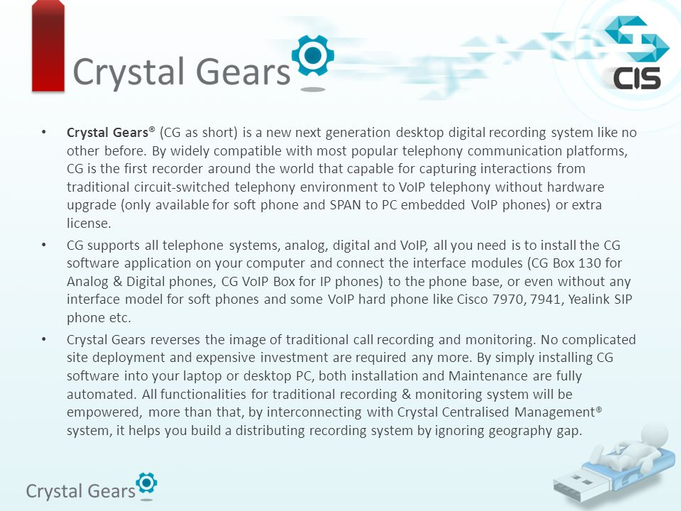 Crystal Gears® (CG as short) is a new next generation desktop digital recording system like no other before. By widely compatible with most popular te