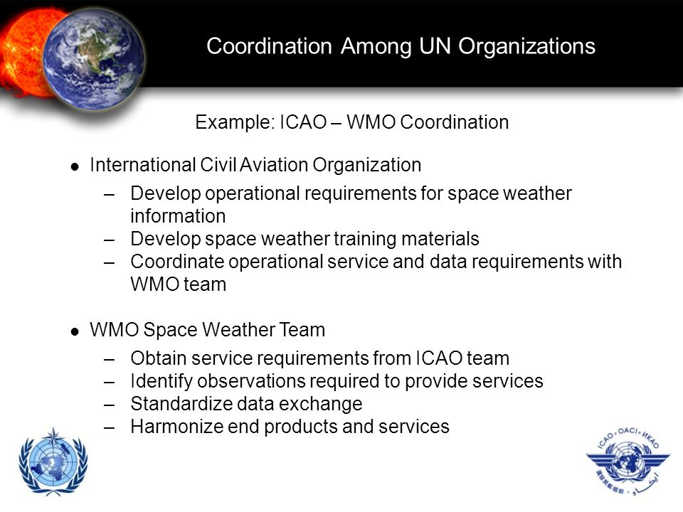 Coordination Among UN Organizations International Civil Aviation Organization –Develop operational requirements for space weather information –Develop space weather training materials –Coordinate operational service and data requirements with WMO team WMO Space Weather Team –Obtain service requirements from ICAO team –Identify observations required to provide services –Standardize data exchange –Harmonize end products and services Example: ICAO – WMO Coordination