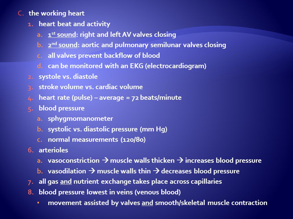 C.the working heart 1.heart beat and activity a.1 st sound: right and left AV valves closing b.2 nd sound: aortic and pulmonary semilunar valves closi