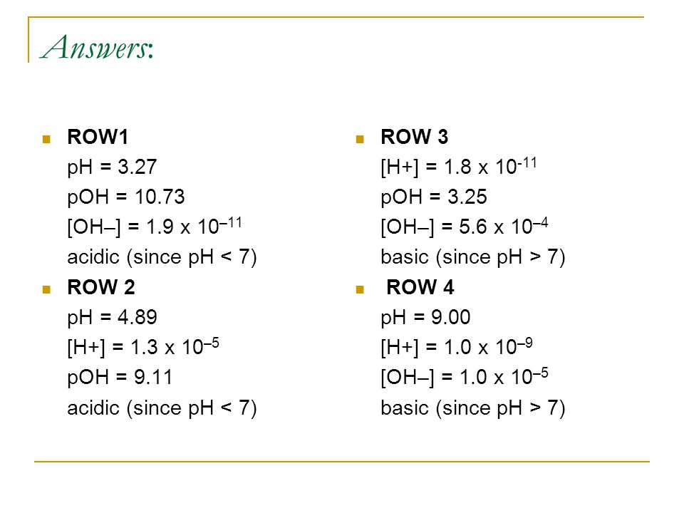 Answers: ROW1 pH = 3.27 pOH = 10.73 [OH–] = 1.9 x 10 –11 acidic (since pH < 7) ROW 2 pH = 4.89 [H+] = 1.3 x 10 –5 pOH = 9.11 acidic (since pH < 7) ROW 3 [H+] = 1.8 x 10 -11 pOH = 3.25 [OH–] = 5.6 x 10 –4 basic (since pH > 7) ROW 4 pH = 9.00 [H+] = 1.0 x 10 –9 [OH–] = 1.0 x 10 –5 basic (since pH > 7)