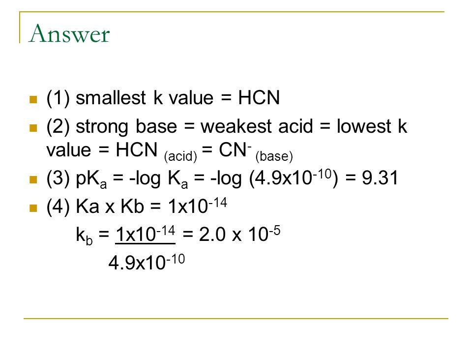Answer (1) smallest k value = HCN (2) strong base = weakest acid = lowest k value = HCN (acid) = CN - (base) (3) pK a = -log K a = -log (4.9x10 -10 ) = 9.31 (4) Ka x Kb = 1x10 -14 k b = 1x10 -14 = 2.0 x 10 -5 4.9x10 -10
