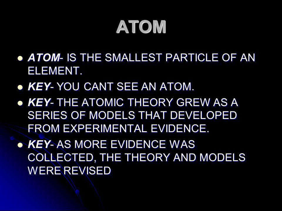 CH 4 SEC 1 INTRODUCTION TO ATOMS