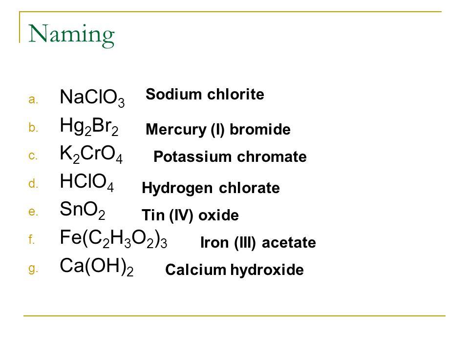 Naming a. NaClO 3 b. Hg 2 Br 2 c. K 2 CrO 4 d. HClO 4 e. SnO 2 f. Fe(C 2 H 3 O 2 ) 3 g. Ca(OH) 2 Sodium chlorite Mercury (I) bromide Potassium chromat