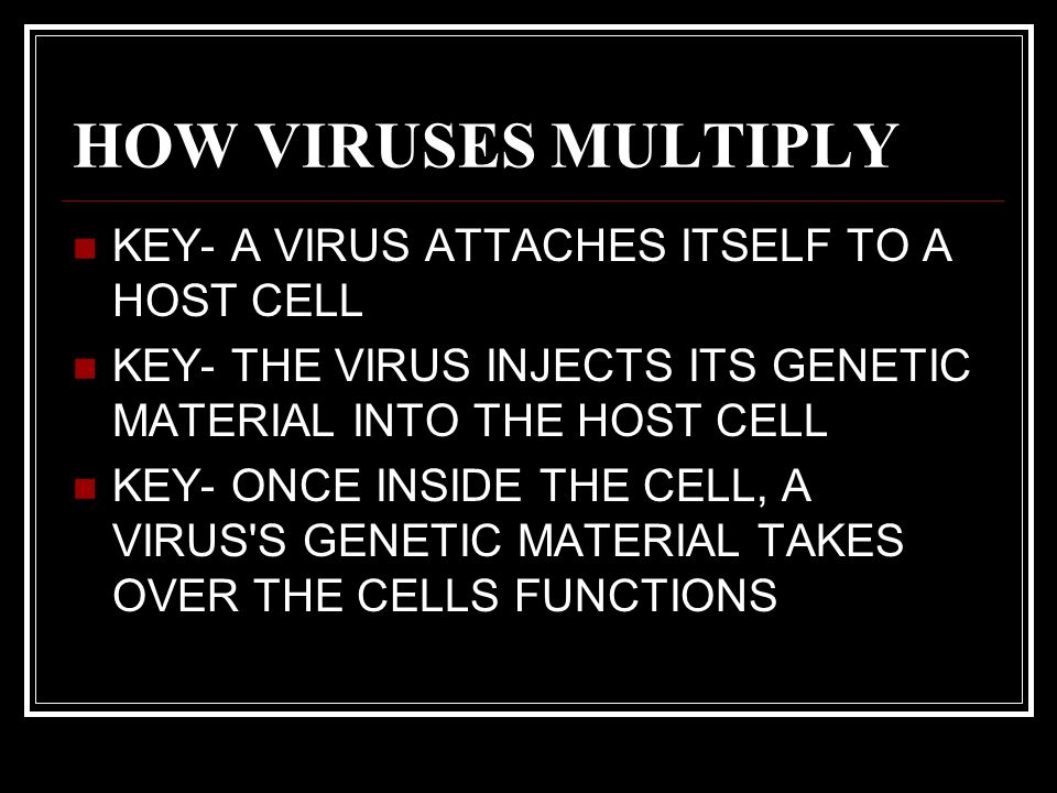 CONT'D KEY- EACH VIRUS CONTAINS UNIQUE SURFACE PROTEINS KEY- SHAPE OF THE SURFACE PROTEINS ALLOW THE VIRUS ONLY TO ATTACH ONLY TO CERTAIN CELLS. THINK