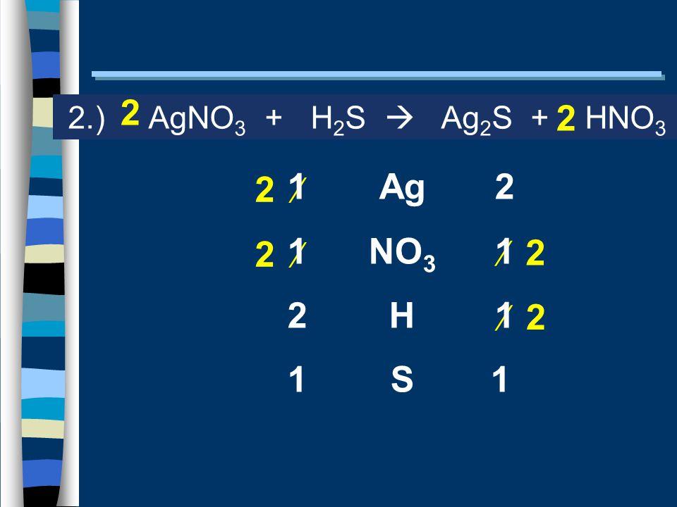 Ag NO 3 H S 2.) AgNO 3 + H 2 S  Ag 2 S + HNO 3 2  2 2  2 1 2 1 2 11