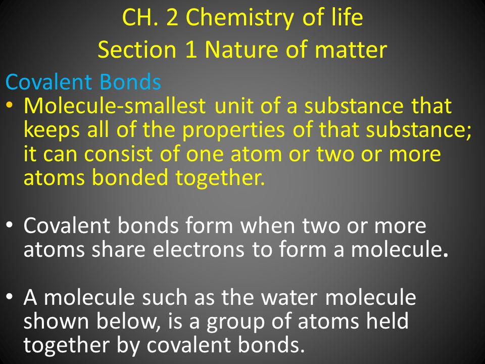 CH. 2 Chemistry of life Section 1 Nature of matter Covalent Bonds Molecule-smallest unit of a substance that keeps all of the properties of that subst