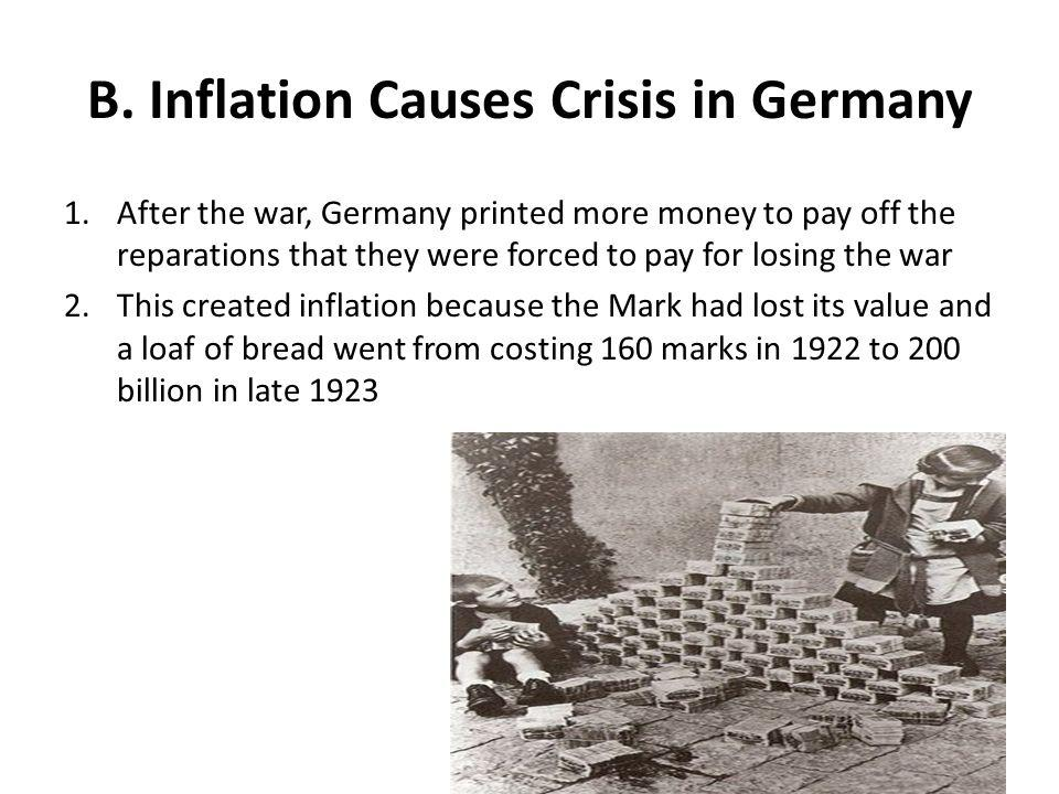 B. Inflation Causes Crisis in Germany 1.After the war, Germany printed more money to pay off the reparations that they were forced to pay for losing t