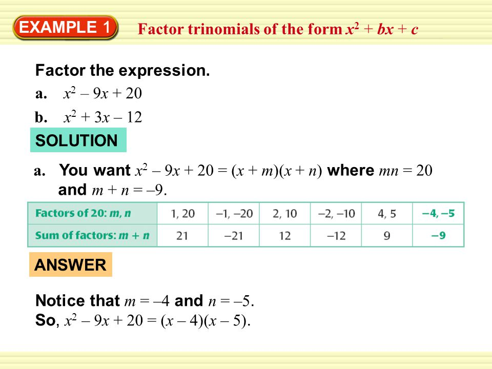 EXAMPLE 1 Factor trinomials of the form x 2 + bx + c b.